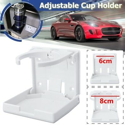 White Adjustable Folding Drink Cup Holder Mount Car Boat Marine Caravan RV