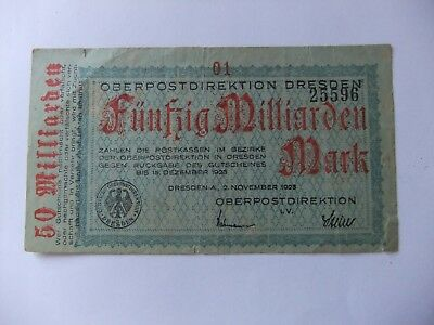 50 Milliarden Oberpostdirektion Dresden , 1923