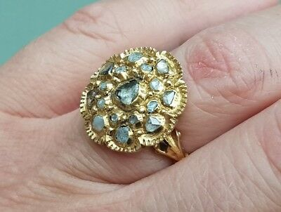 Superb Antique Ottoman Greek Gold Plated Handmade Diamond Decorated Amazing Ring
