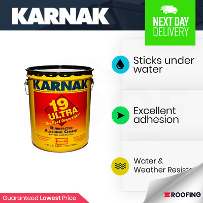 KARNAK 19 ULTRA Rubberised Flashing Cement 3 4ltrs with free