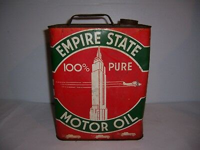 Vintage Empire State 100% Pure Motor Oil 2 Gallon Can Gas Station Advertising