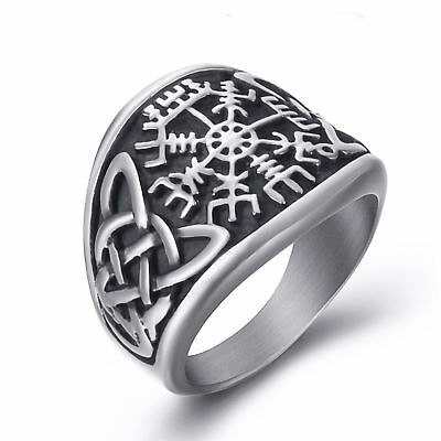 Men Stainless Steel Ring Viking Valknut Pirate Compass Symbol Vintage Jewelry