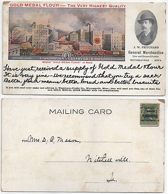 Large 1900s Postcard Ad For Gold Medal Flour Washburn Mills Mitchellville Iowa