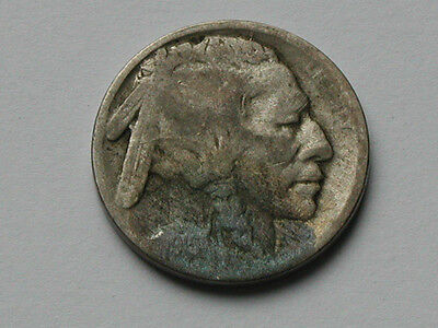 USA 1915 D FIVE CENTS (5¢) Indian Head/Buffalo Nickel Coin with ACID-DATE DAMAGE