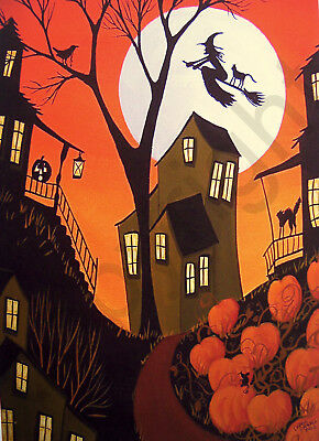 Witch black cat JOL crow mouse moon gift art Criswell ACEO print of painting