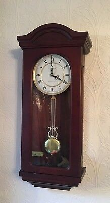 Wooden Long Case Wall Clock With Westminster Chimes Made By Churchill