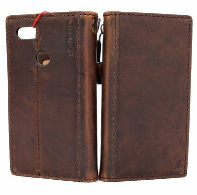 genuine real leather case fo Google Pixel 3 XL book wallet cover strap soft Dark