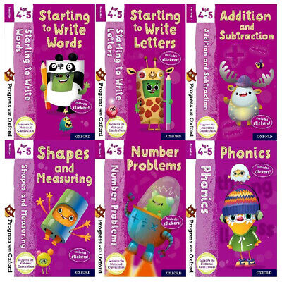 Progress With Oxford Series Collection 7 Books Set (Age 4-5) Phonics, Numbers
