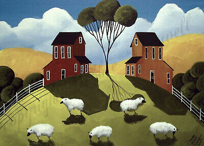 Farm sheep folk primitive Christmas gift art Criswell ACEO print of painting