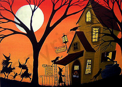 Halloween witch Potion Shop black cat art Criswell ACEO print of painting gift
