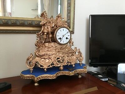 Antique French Figural Mantle Clock With Bell Chimes