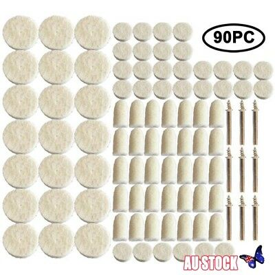 90x Felt Polishing Buffing Pads Wheel Wool Plastic Dremel Rotary Tool Kit Set AU