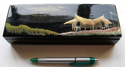 Vintage Japanese Lacquered & Handpainted Lidded Box 1960s -?