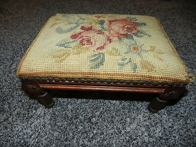 "ANTIQUE DIMINUTIVE FOOT STOOL with EMBROIDERED TOP 12"" W x 9"" DEEP x 6.5"" HIGH"