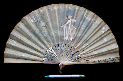 Antique Victorian Mother of Pearl Painted Fan Eventail Signed (PAUL) RENARD 1900