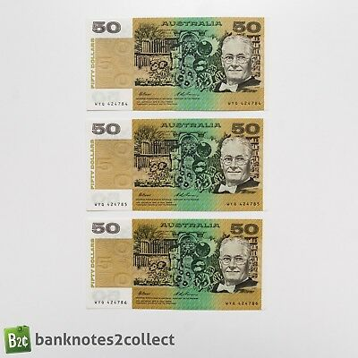 AUSTRALIA: 3 x 50 Australian Dollar Banknotes with consecutive serial numbers.
