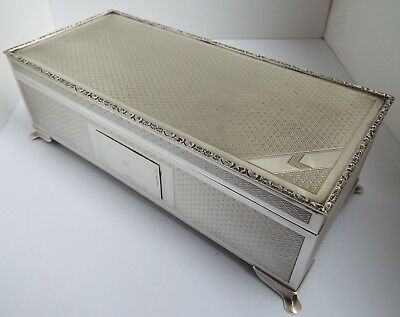 SUPERB LARGE HEAVY 793g ENGLISH ANTIQUE 1979 SOLID SILVER CIGARETTE BOX ON FEET