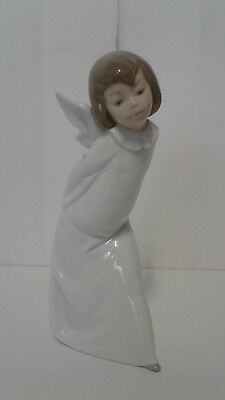 "Lladro #4960 Curious Angel Figurine w/ Lantern 9-1/4"" High"