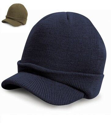 Childrens Kids Boys PEAKED STYLE BEANIE HAT Thermal Warm Thick Insulated