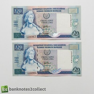 CYPRUS: 2 x 20 Cypriot Pound Banknotes with consecutive serial numbers.