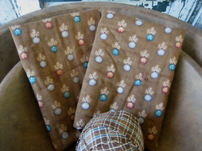 """2 Antique Vintage Chocolate Brown Calico Cotton Fabric 22"""" Selvage 15"""" long"""