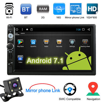 """7"""" BT Touch Screen Car Stereo Radio 2 DIN MP5 FM Player Android 7.1 TF USB B3Q6"""