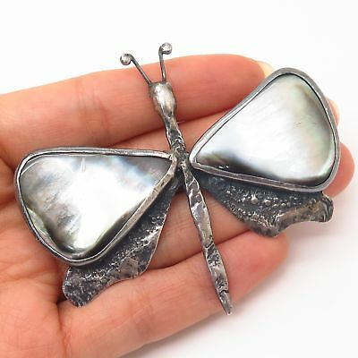 925 Sterling Silver Vtg Poland Brown Mother-of-Pearl Large Butterfly Pin Brooch