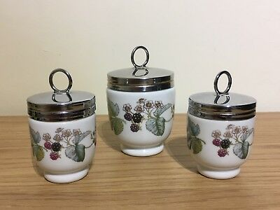 3 x Royal Worcester Egg Coddlers Blackberry Pattern