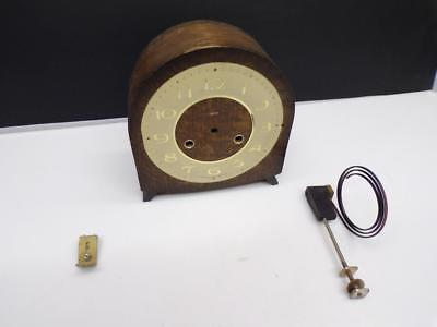 """Attractive Round-Top """"Smiths"""" English Clock Case w/  5"""" Pedestal Coil Gong D581"""