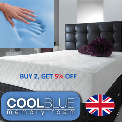Cool Blue Memory Foam Mattress Spring 3ft Single 4ft6 Double 5ft King 6ft S King