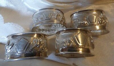 vintage Set 4 Sterling Silver Napkin Rings Holders No monogram  Repousse tribal