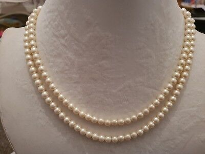 Vintage Art Deco 2 Strand Glass Simulated Pearl Bead Necklace cream