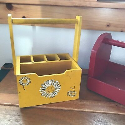 Vintage Lot of 2 VG Japan Yellow w White Daisies Solid Red Painted Wood Garden