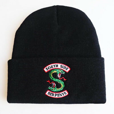 Riverdale South Side Serpents Embroidery Beanie Hat Unisex Winter Knitted Cap