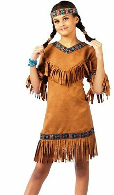 Girls Native American Indian Princess Costume Childs Child S 4-6 M 8-10 L 12-14