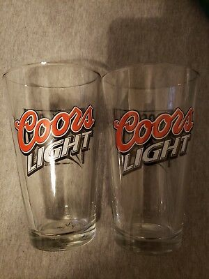 Pair of Coors Light Rock On Beer Glasses - Excellent Condition