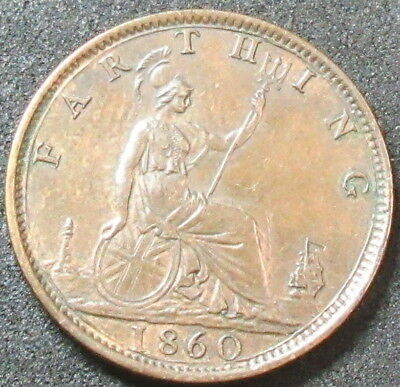 1860 Great Britain Toothed Bordens Farthing Coin