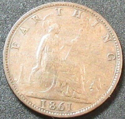 1861 Great Britain Farthing Coin