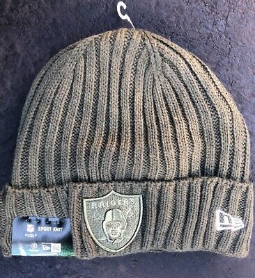 release date: e3d82 dae3b Oakland Raiders Beanie New Era Olive 2017 Salute To Service Cuffed Knit Hat  New
