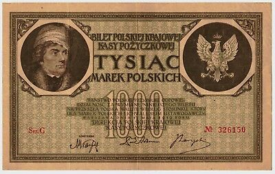 1919 Poland 1000 Marek Currency Banknote Pick-22a Second Polish Republic in XF