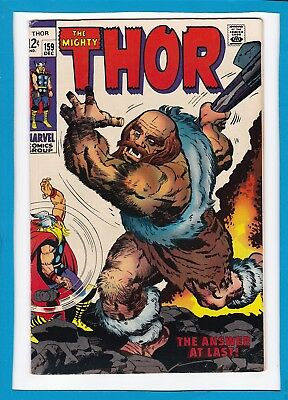 "Mighty Thor #159_December 1968_Very Fine_Loki_""the Answer At Last""_Silver Age!"