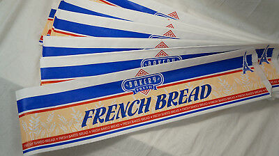 "New French Bread Paper Bags Retail ~ 20.5"" x 6"" ~ Waxed White Blue ~ 100 Count"