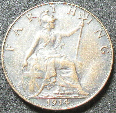 1914 Great Britain Farthing Coin