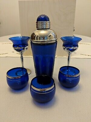 Collectible Cobalt Bombay Sapphire Gin Cocktail Shaker & 3 Cobalt Glasses