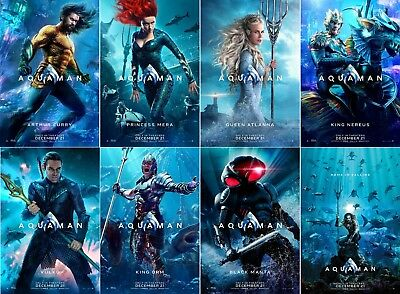"Aquaman Movie Poster Characters DC Comics Film Print 13x20"" 24x36"" 27x40"" 32x48"""