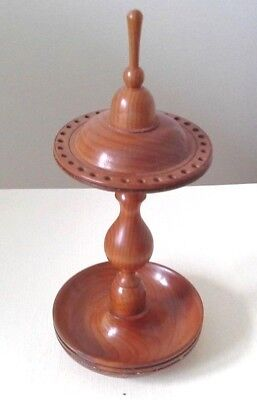 Vintage Hand Turned Yew Wood Hat Pin Stand Superb