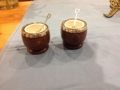 Pair Of Oak Wooden And China Lined Salts With Spoons