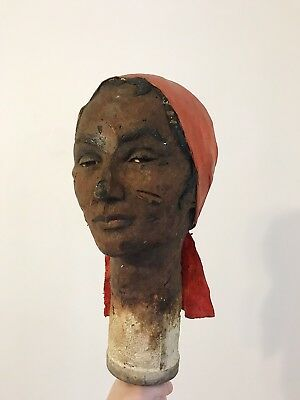 ANTIQUE 1920s VICTORIAN MANNEQUIN HEAD DISPLAY COMPOSITION BLACK AFRICAN FLAPPER