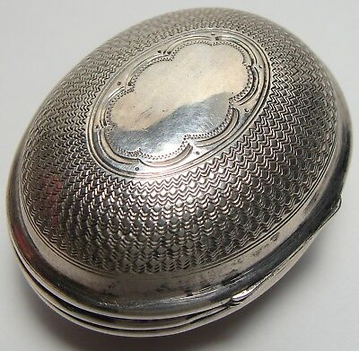 ANTIQUE Sterling Silver Small Oval Box ALL OVER ENGRAVED DECORATION