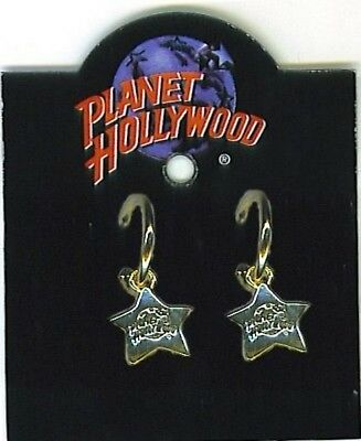 Planet Hollywood Hoop Pierced Earrings With Logo Charm, Antique Gold Plate, NEW